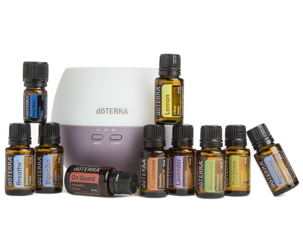 Essential oil starter kit with diffuser